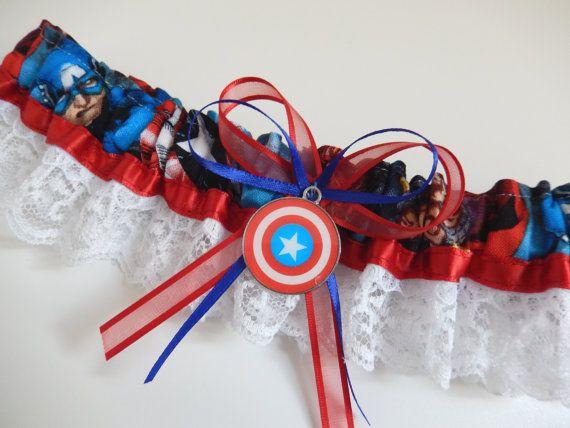 Superhero garter/Captain America by ZanymouseCreations on Etsy