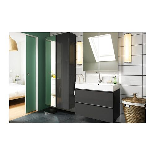 godmorgon / brÅviken sink cabinet with 2 drawers, gray high gloss, Badkamer