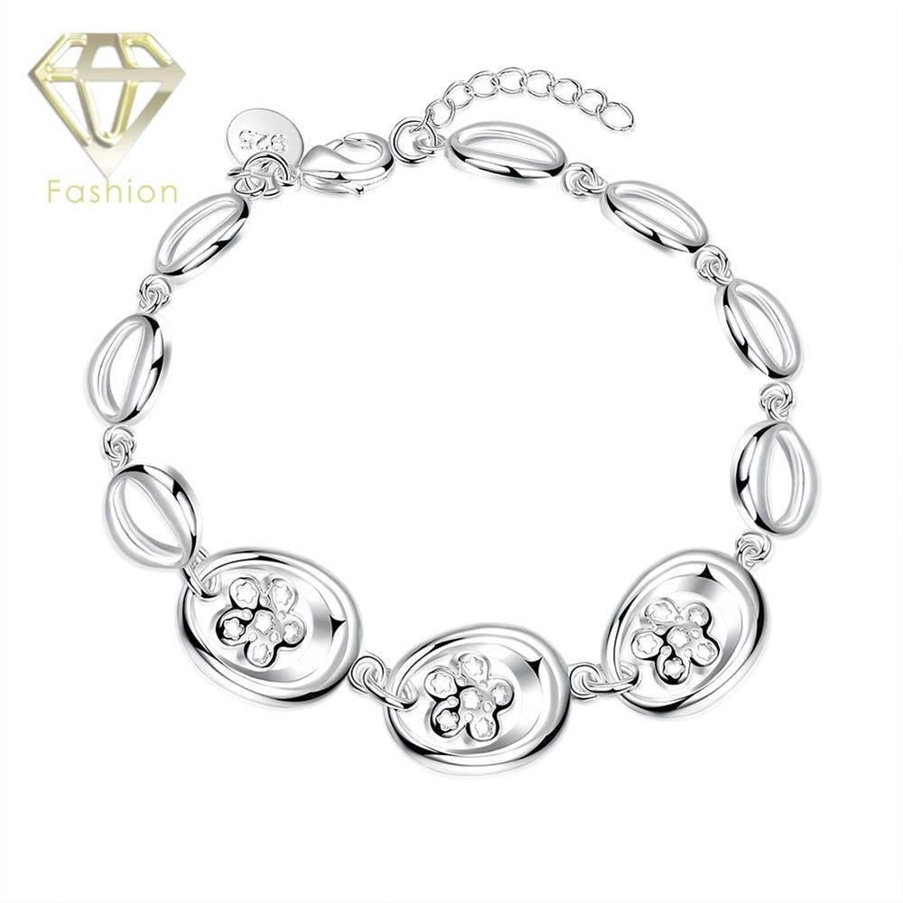 Girls charm bracelet beautiful silver plated with ovals pave rose