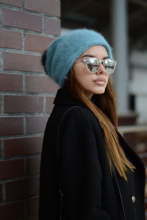 c22ee6904cd Angora knit hat Winter slouchy hat Gift for her Winter hat Oversized ...
