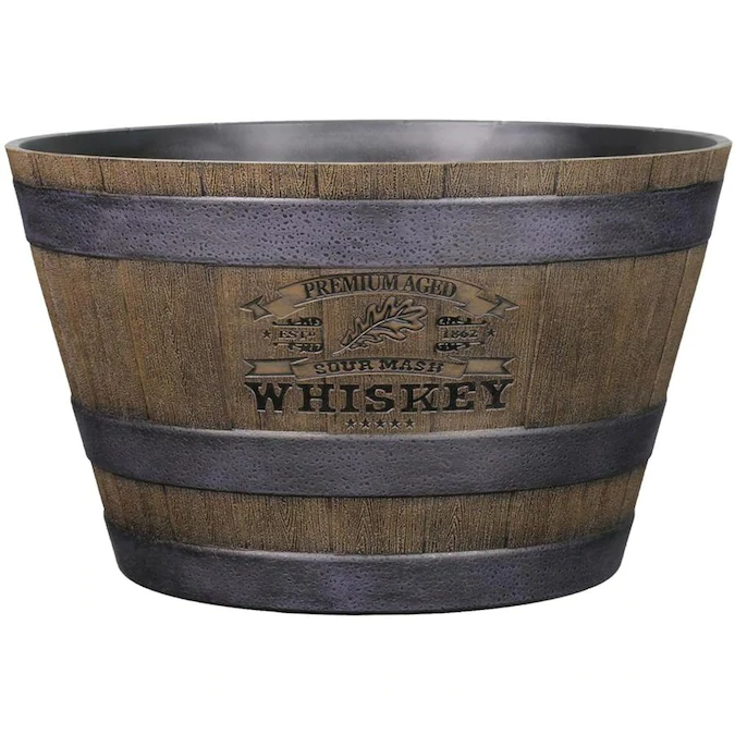 L G Solutions 14 58 In W X 9 02 In H Brown Resin Planter Lowes Com In 2020 Resin Planters Whiskey Barrel Planter Planters