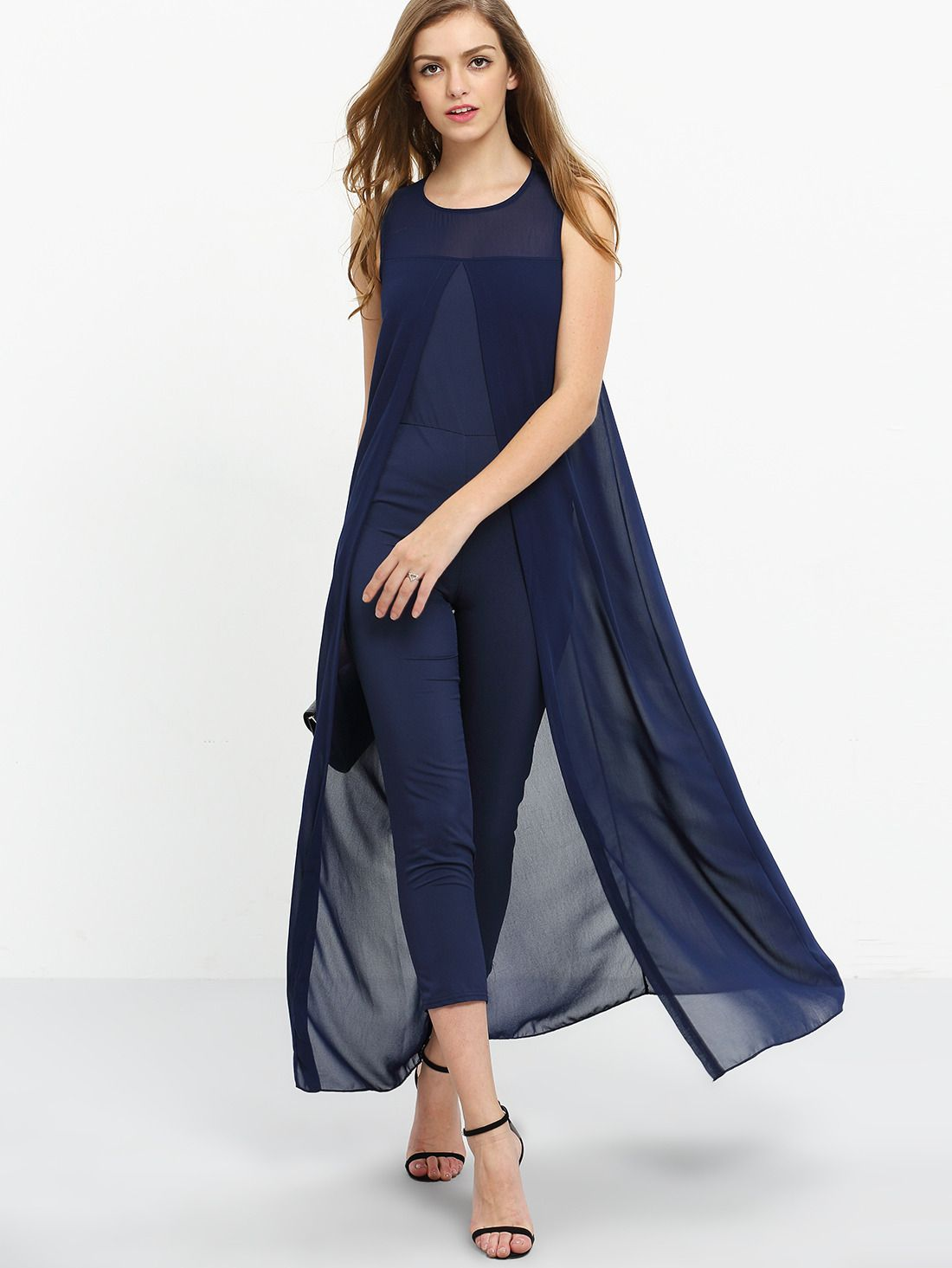 ae218f2bf51541 Shop Chiffon Overlay Skinny Jumpsuit - Navy online. SheIn offers Chiffon  Overlay Skinny Jumpsuit - Navy   more to fit your fashionable needs.