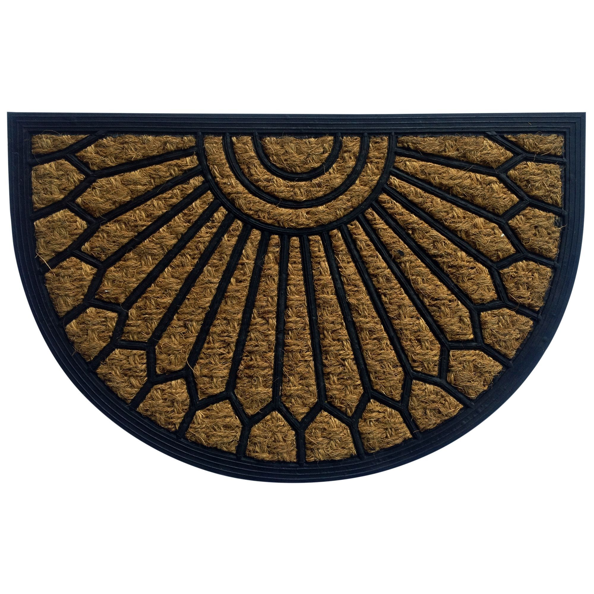 bu0026q beige u0026 black half moon coir u0026 rubber door mat l400mm - Rubber Door Mat