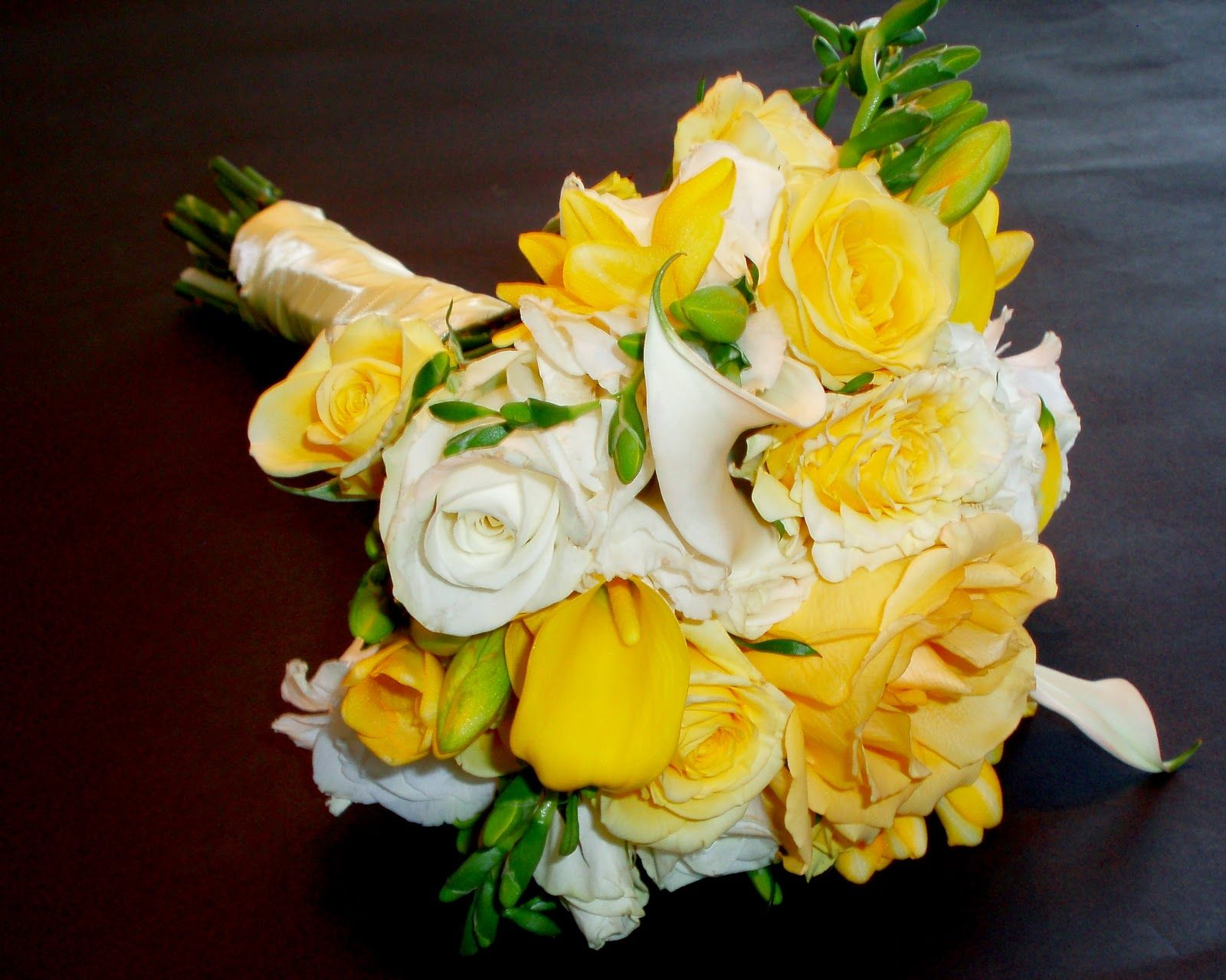 White Calla Lily Wedding Bouquet Yellow Accent