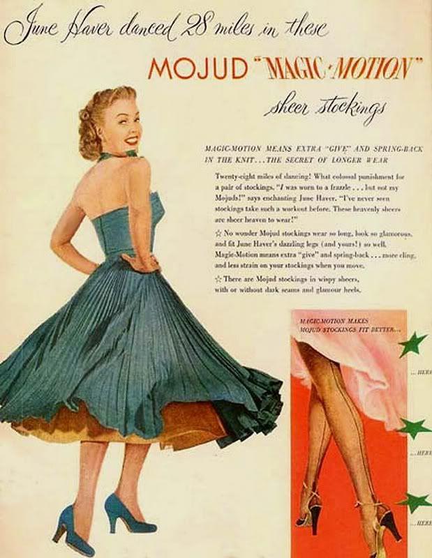 June Haver for MOJUD silk stockings