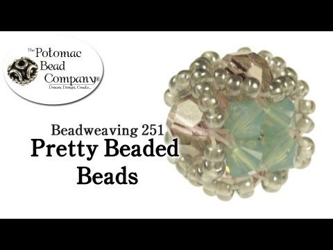 tutorial from The Potomac Bead Company teaches you how to make pretty beaded beads using 11/0 seed beads, 8 4mm crystal bicones, and any 4 6mm round beads you chose