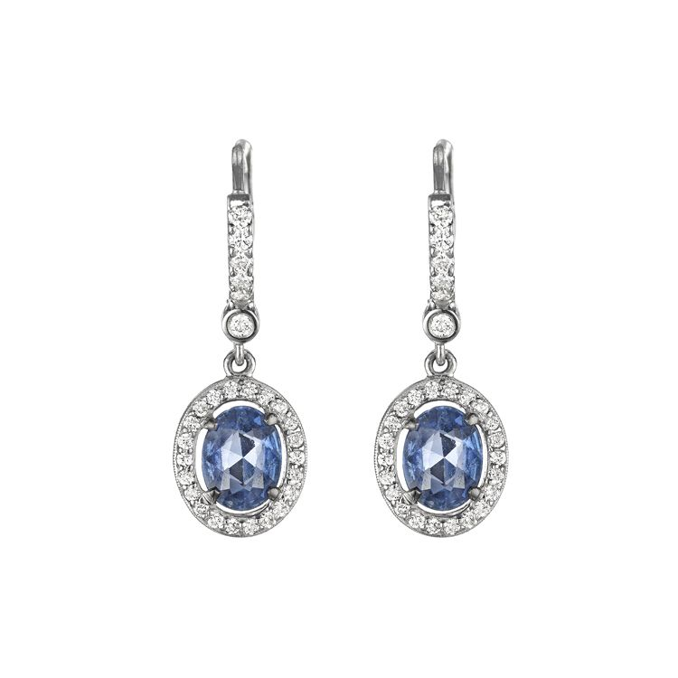 Oval Blue Sapphire Earring by Penny Preville