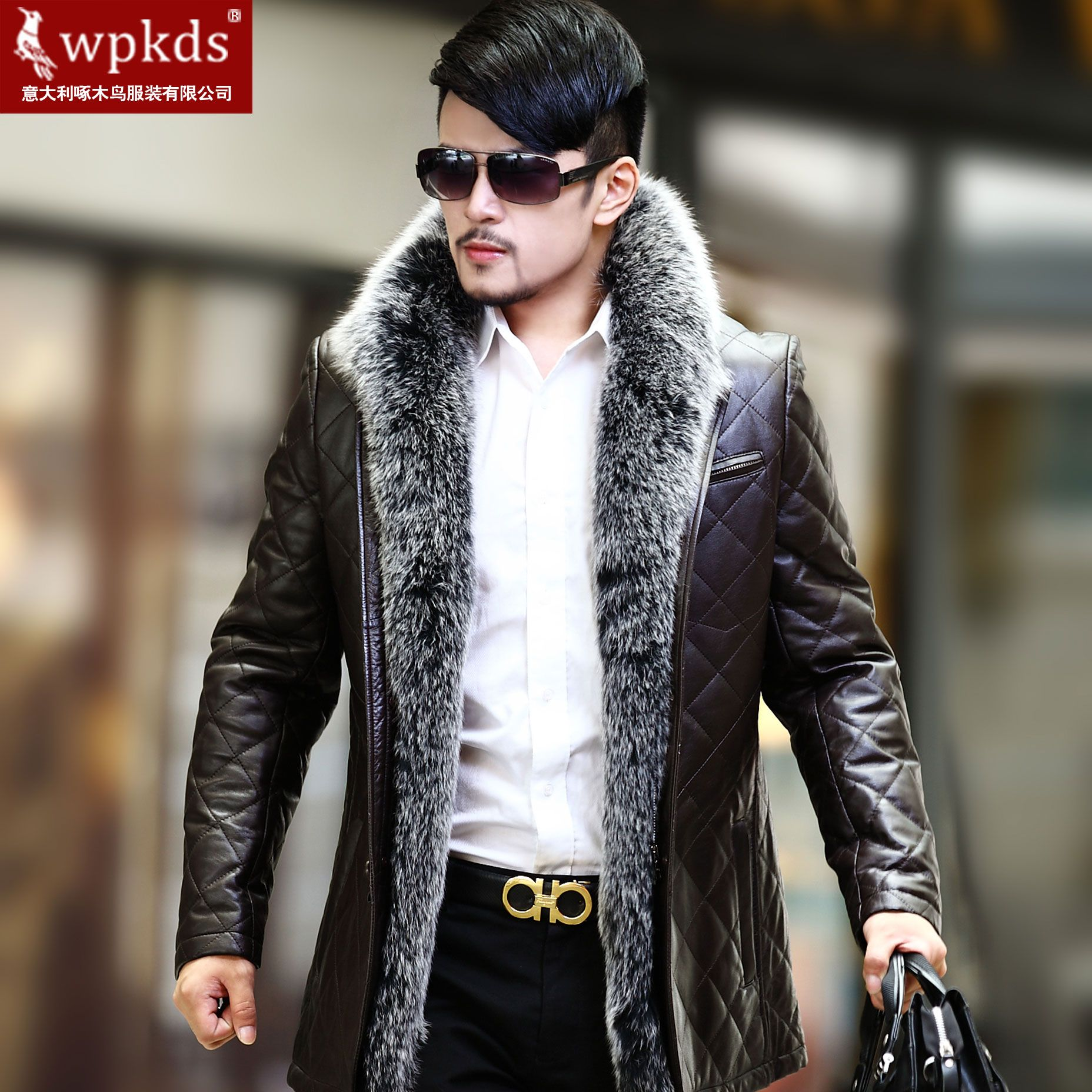 Fox Fur Coats men NEW100sheepskinluxurysiverfoxfur