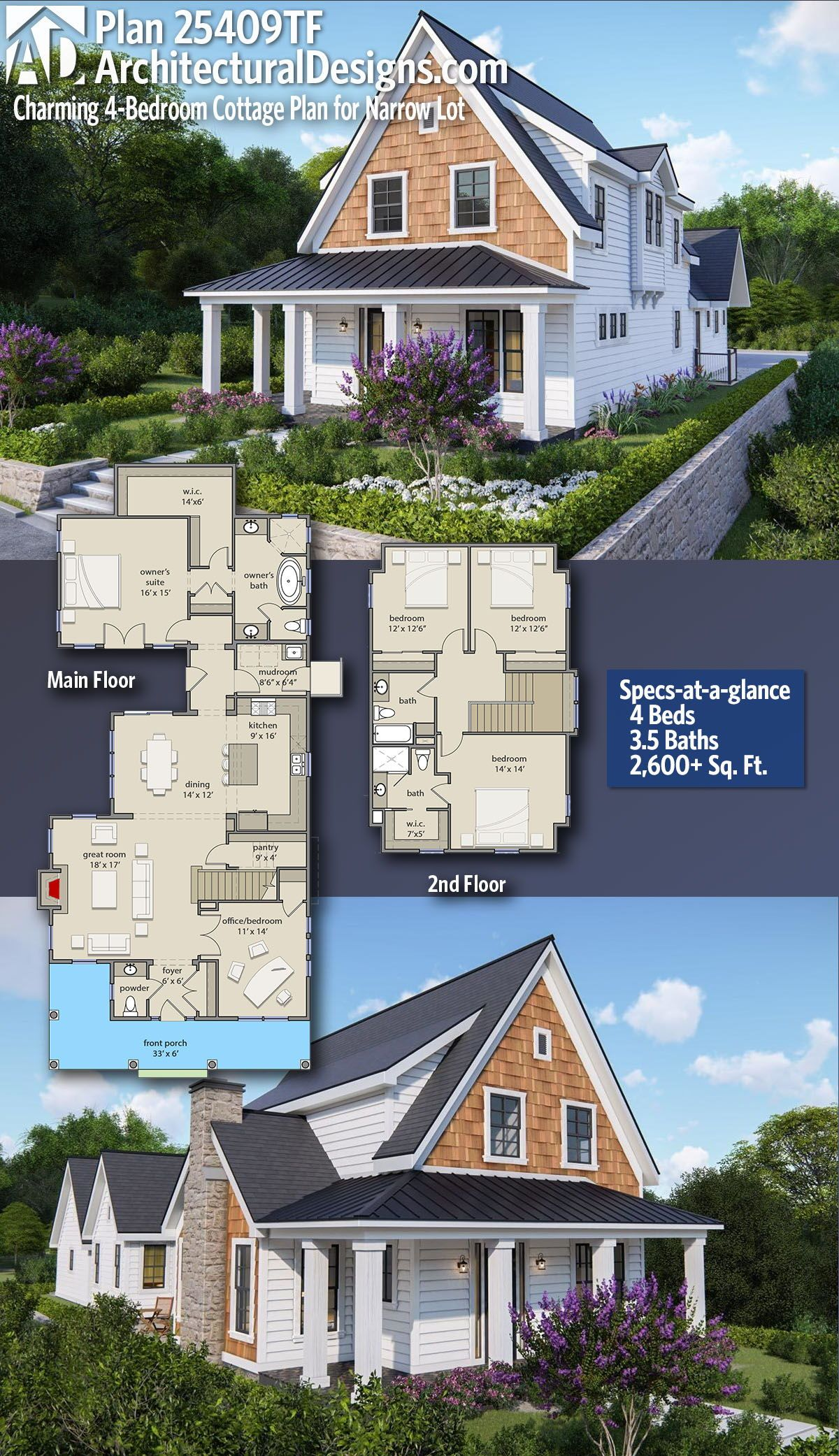 Plan 25409tf Charming 4 Bedroom Cottage Plan For Narrow Lot Cottage Plan Farmhouse Cottage Plans Farmhouse Plans