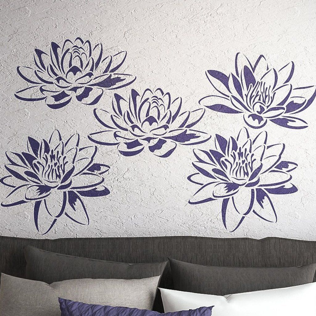 Lotus Flower Wall Stencils Set Of 3 Flower Stencils Wall Stencils