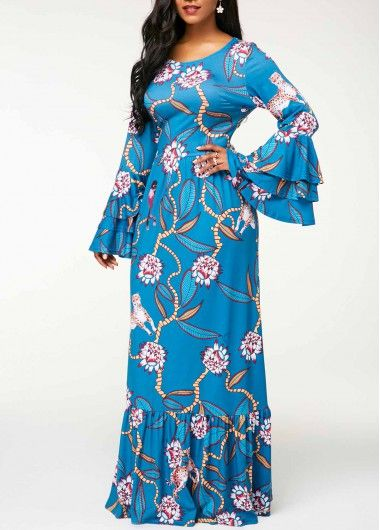 2321ce20d7 Layered Bell Sleeve Printed Maxi Dress | Dress in 2019 | Dresses ...