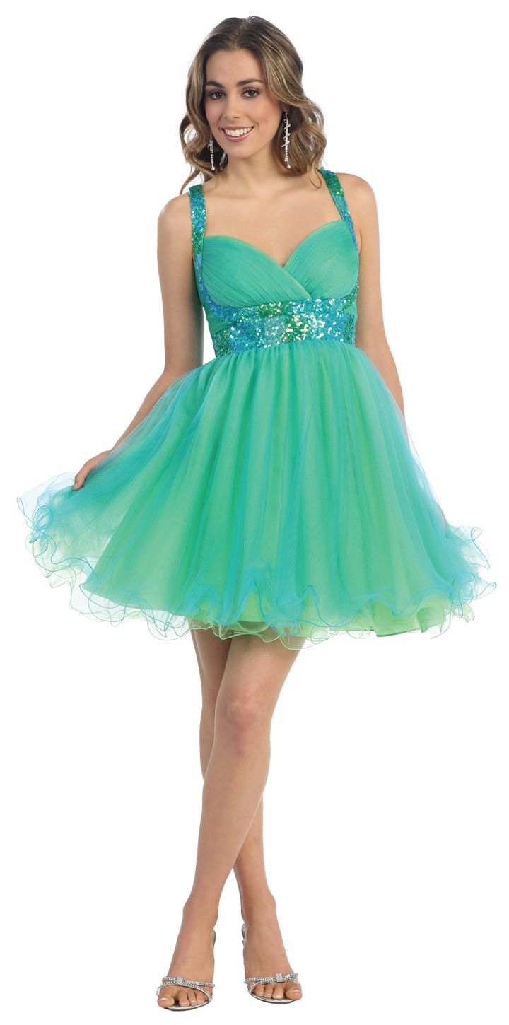 Turquoise/Lime New Style Short Brides, Prom & Homecoming Dress ...