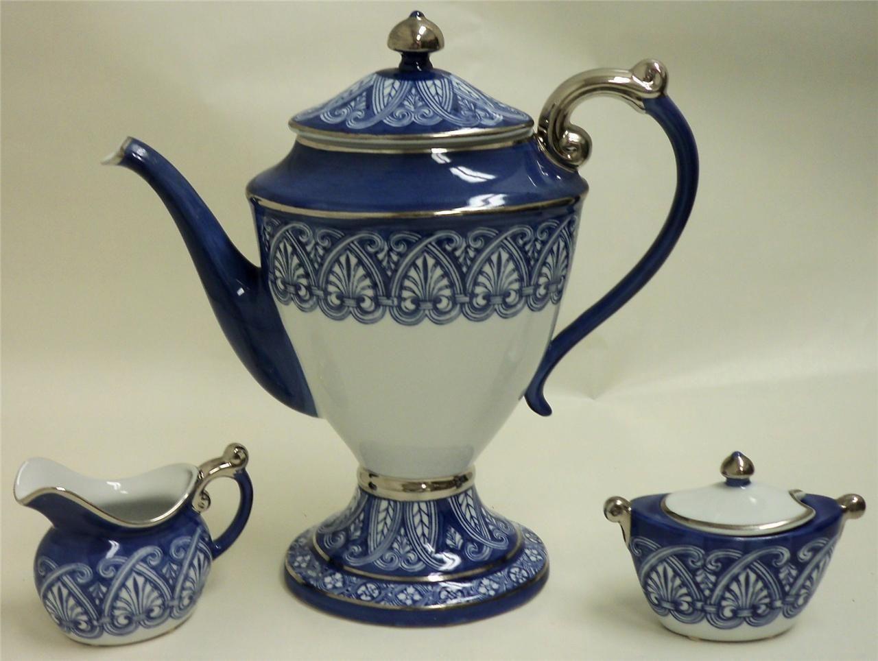 3 Piece Bombay Tea Coffee Set Tea Pot Sugar Bowl Cream Pourer Blue