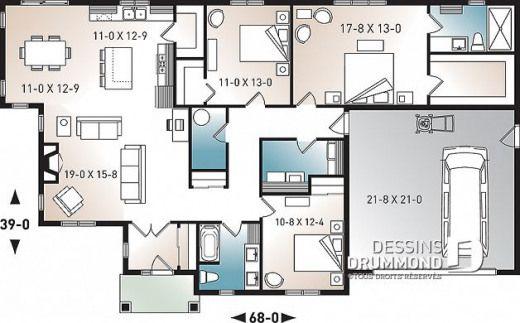 Rez De Chaussée Du Plan De Maison Unifamiliale 3284 CJG1 #shedplans