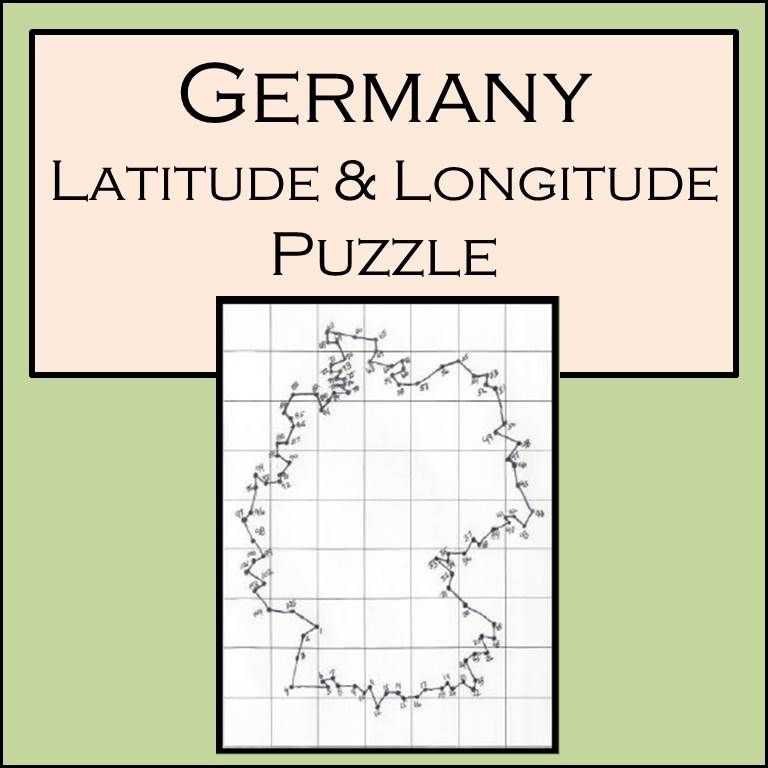 This is a great task for students learning latitude and longitude. Students plot 105 coordinates one at a time, label them, and connect the dots to hopefully see the outline of Germany.