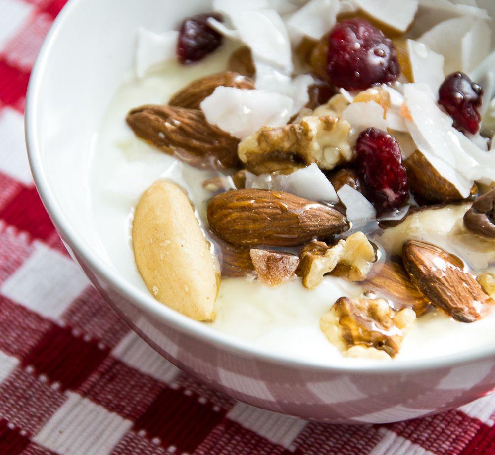Morning power breakfast (yoghurt, walnuts, fruits, honey).