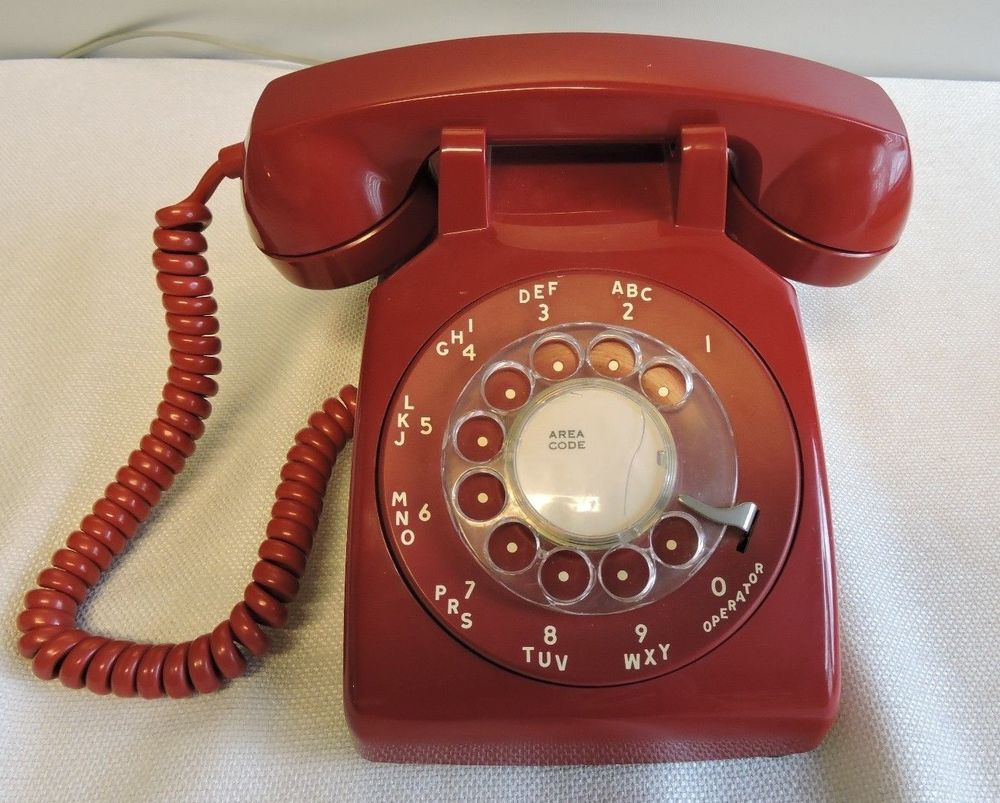 Vintage ITT Model No. 500 Fire Engine Red Rotary Telephone Phone