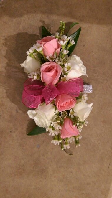 White and pink wrist corsage