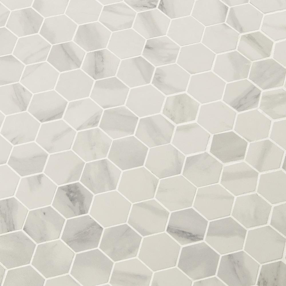 Msi Strata Hexagon 12 In X 12 In X 10mm Matte Ceramic Mesh Mounted Mosaic Tile 1 Sq Ft Nhdstr2x2hex The Home Depot In 2020 Porcelain Mosaic Tile Porcelain Mosaic White Mosaic Tiles