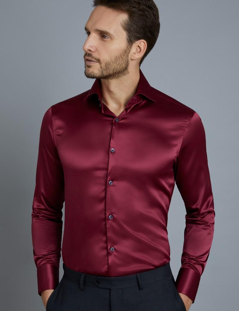 Mens Long Sleeve Satin Silk Dress Shirt Business Formal Casual Smart Top Blouses