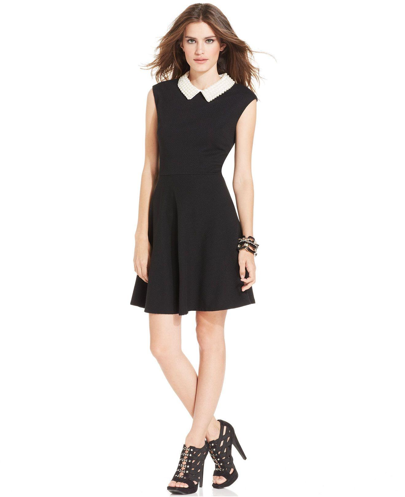 Betsey Johnson Cap-Sleeve Pearl-Collar Dress - Dresses - Women ...