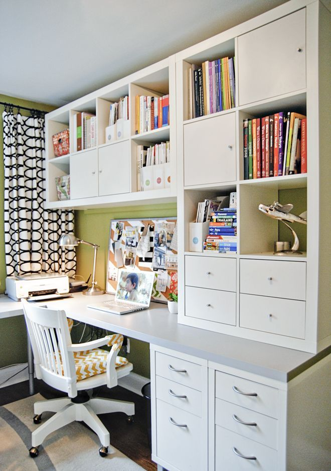 home office with shelves for storage kallax more ideas lifehacks. Black Bedroom Furniture Sets. Home Design Ideas