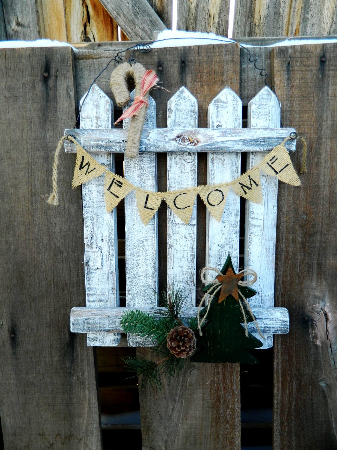 Christmas Holiday Winter Rustic Picket Fence Door Hanger