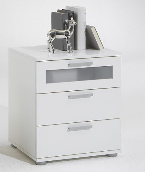 Jack 2 White Bedside Cabinet With 3 Drawer