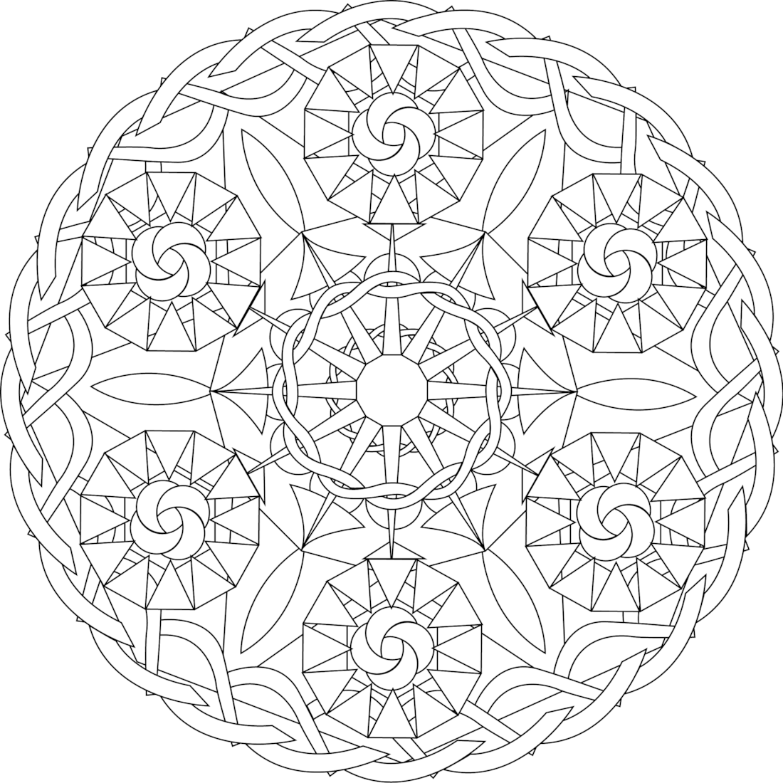 Six Sisters, a free printable mandala coloring page. Print from this ...