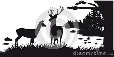 Motive Hunting Of Animals And Landscapes23 Deer Silhouette Animals Vector Illustration