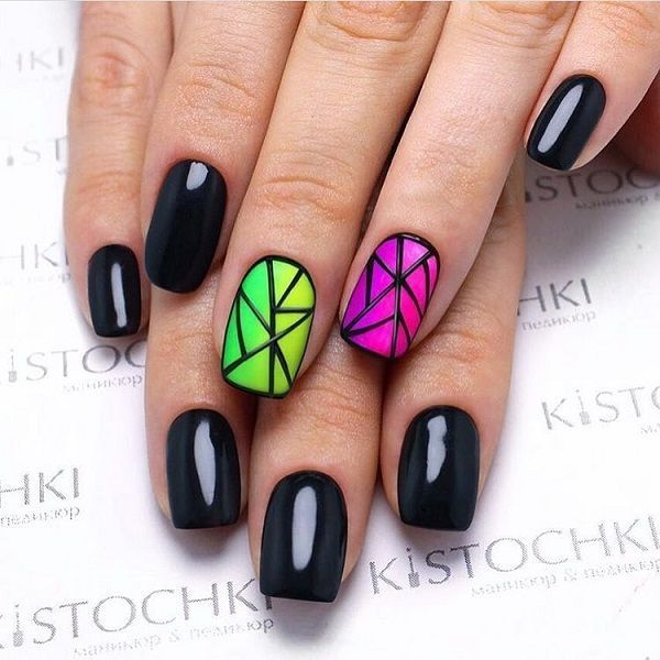 60 GEOMETRIC NAIL ART IDEAS #koreannailart Glossy- Matte Geometric Nail Art Combo. This gradient glossy-matte geometric nail art is worth giving a shot. You can use different colors to give it your own creativity. #koreannailart