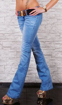 Women/'s Low Cut Hipster Bootcut Jeans Ripped Pink Lace Blue Jeans Belt HOT