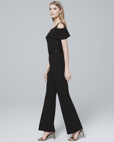 9b2c6d8edb9 Women s Badgley Mischka Cold-Shoulder Black Jumpsuit With Removable Belt by White  House Black Market