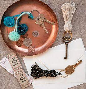Great tassel and pompom key rings from Design*Sponge