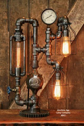 Industrial lighting steam punk Steampunk Desk Lamp Retro Brass and Copper