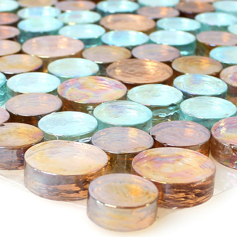 Glasmosaik Rund Round Penny Knopf Coin Mosaik Fliesen Petrol Mix - Fliesen mosaik rund