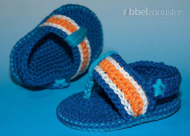 Patrones Crochet: Como hacer Sandalias Hawaianas de Crochet ...