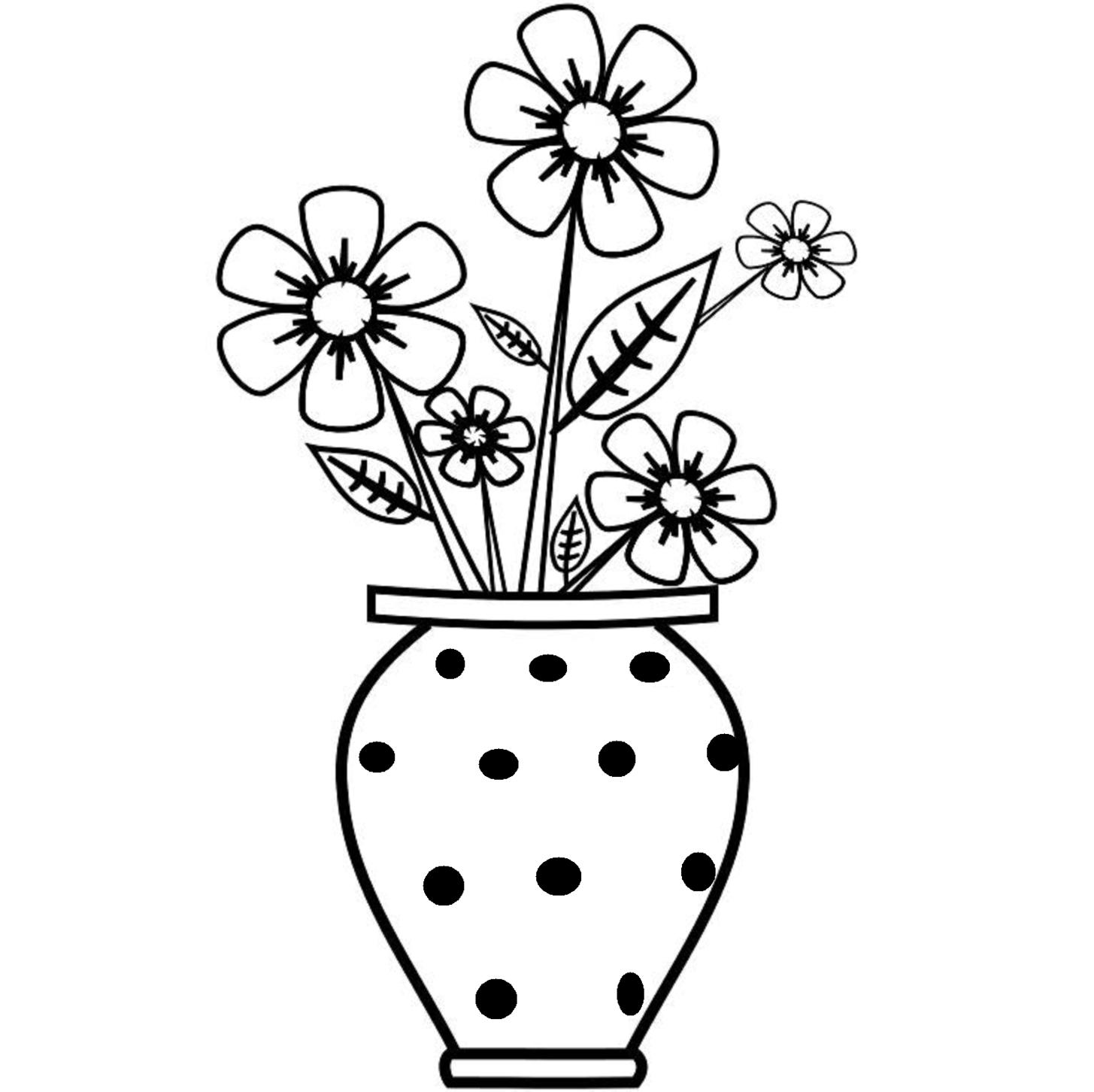 Image Result For Clipart Vase Flower Drawing For Kids Flower Vase Drawing Easy Flower Drawings