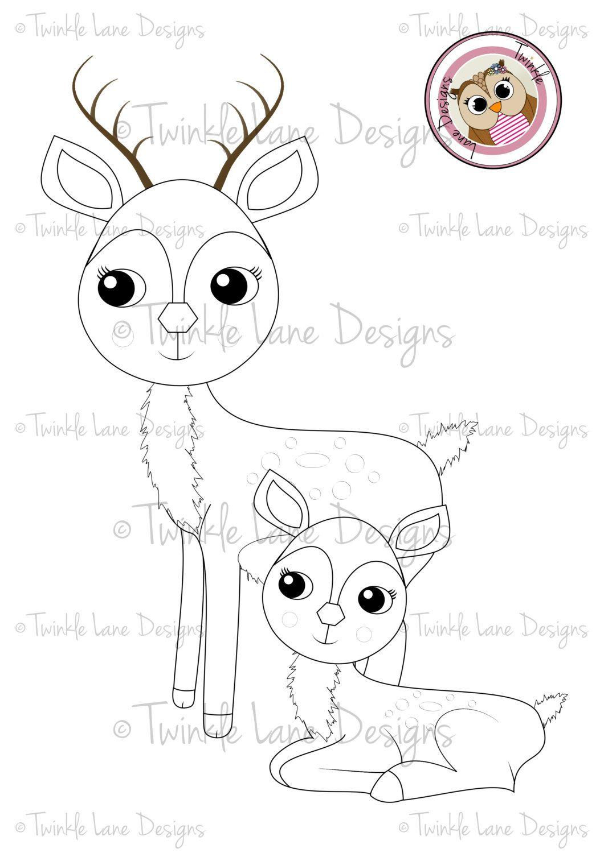 Baby Deer Clipart, Deer Clipart, Digi Stamp, Woodland Creature ...