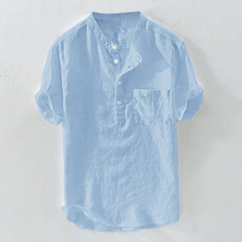 c43fc58b1 Mens 100% Cotton Breathable Vintage Chinese Style Solid Color Loose Casual  Buttons T Shirts on sale-NewChic
