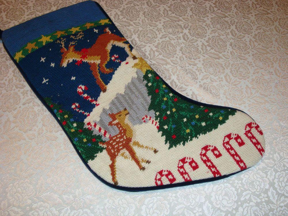 Lands' End Blank Needlepoint Christmas Stocking Reindeer