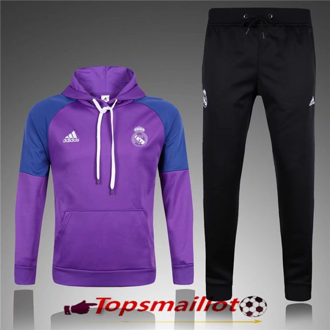 Le Sweat Capuche Survetement Real Madrid Pourpre 2017/2018