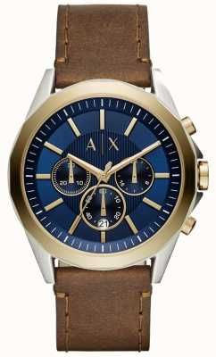 Explore these ideas and more! Armani Exchange Mens Blue Chronograph Brown  Leather Strap AX2612 637efbbb9df