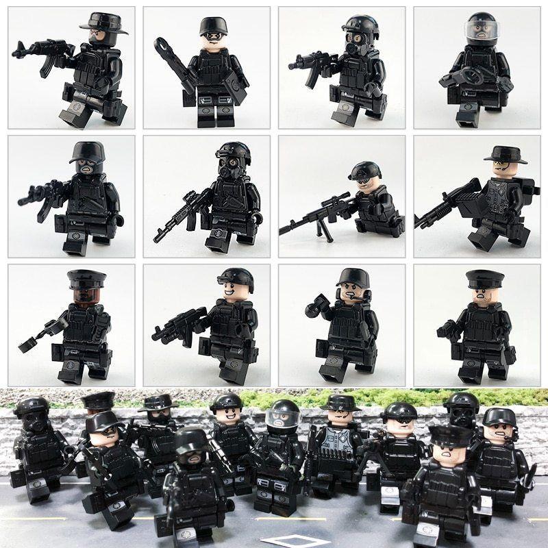 Custom Set Military minifigure Bicks Swat Police Army Team Toys Lego
