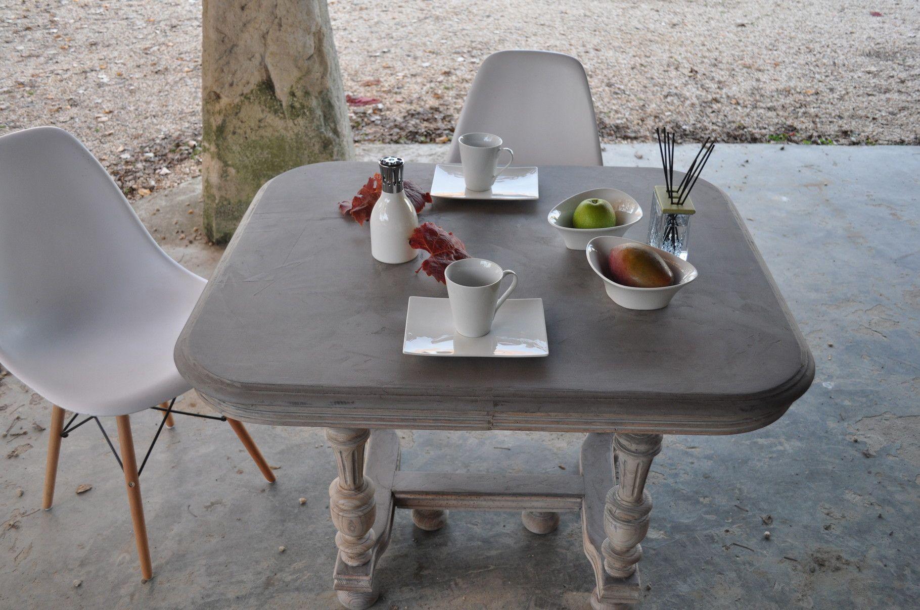 Blanc Mobili ~ Table henri ii patinée relookée cerusée blanche et plateau en