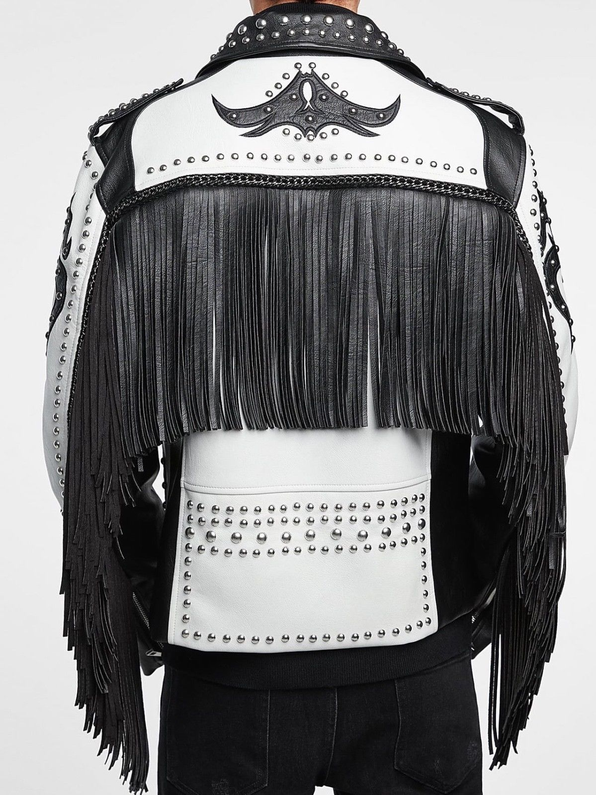 Handmade Black & White Jacket Silver Studded Fringe Zip ...