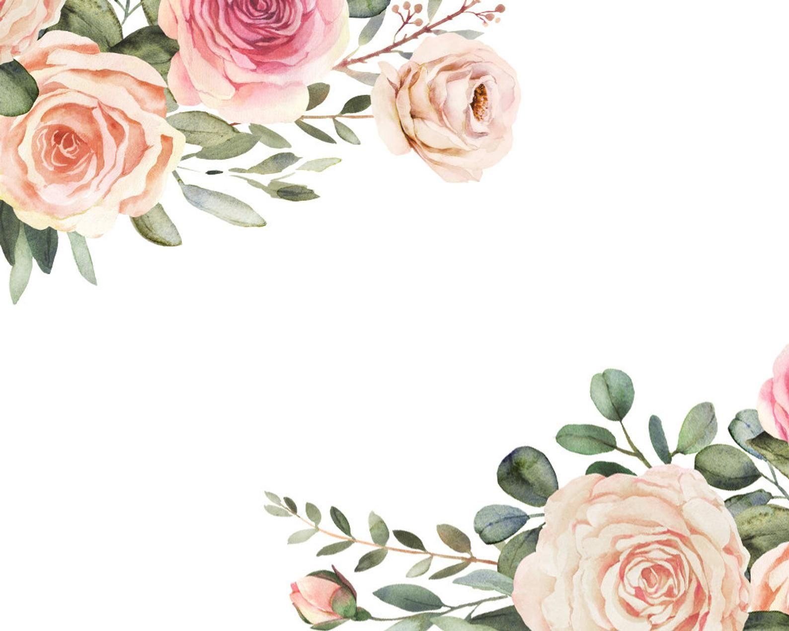Elegant Watercolor Clipart With Roses And Eucalyptus Greenery Etsy Floral Border Design Watercolor Flowers Floral Watercolor