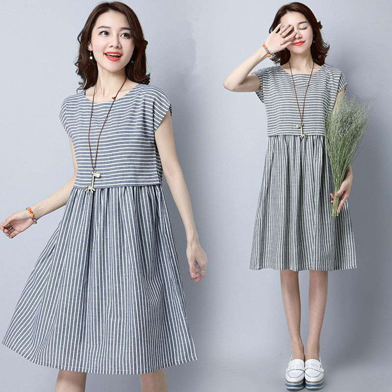 dbaa9c8e7126 MIWIMD Women Summer Dress 2018 New Fashion Casual Loose Stitching Striped  sleeveless Vintage Cotton Linen Dresses Big Size