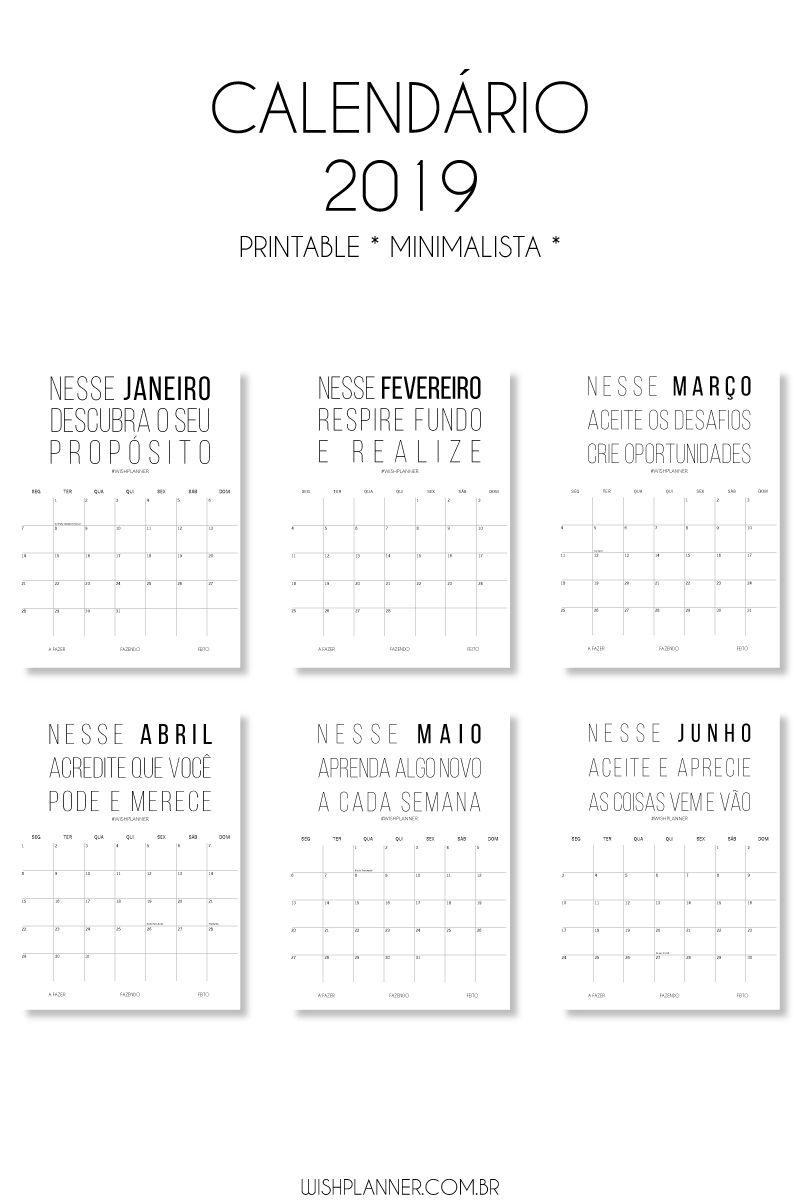 Lindo Printable De Calendario De Parede Minimalista E Com Frases