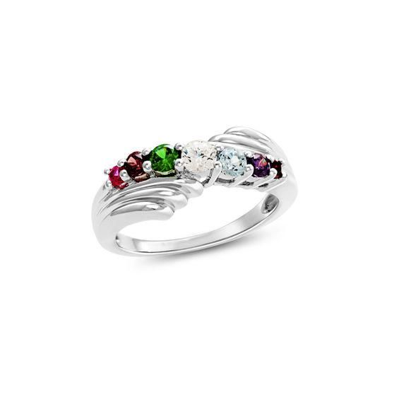 Zales Mothers Birthstone Bypass Ring in Sterling Silver (2 Stones) ec45L28QPi
